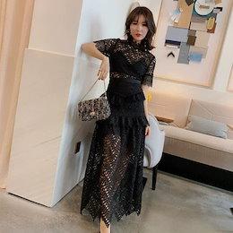 664850df7ed77 上品 総レース エレガンス ワンピース♪ドレス 韓国ファッション お茶会 パーティードレス 結婚式 ドレス