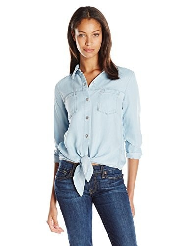 7 For All Mankind Womens Tie Front Denim Shirt, Ibiza Clear Blue, Large