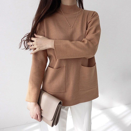 【ミシャプ]ポケットニットT(3 color) ニット/セーター/タートルネック/ポーラーニット/韓国ファッション