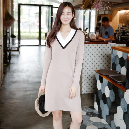 アーバンフランラインブイニット・ワンピース 綿ワンピース/ 韓国ファッション