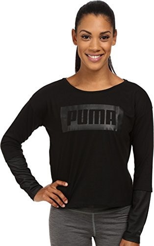 PUMA Womens Long Sleeve Top, Black, Large