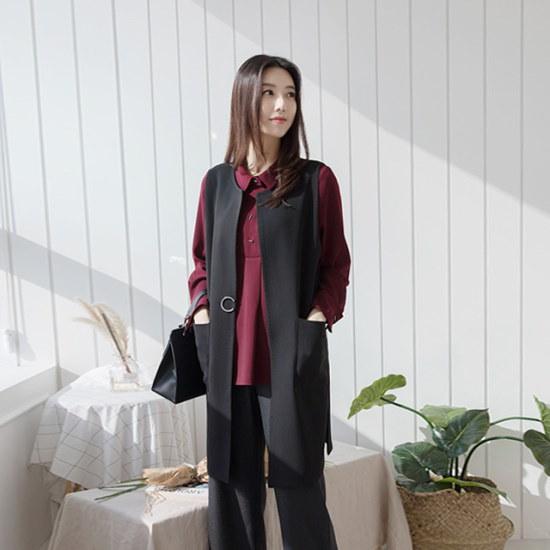 マダム4060ママの服装飾ポイントラウンドベストXVE710020 ベセチュウ / ニット・ベスト/ 韓国ファッション