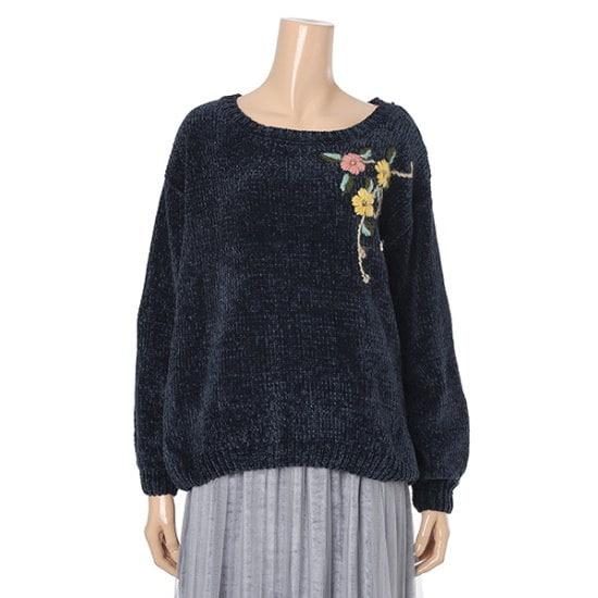ルピタベルベット花自首セーターL174TSWC51 ロングニット/ルーズフィット/セーター/韓国ファッション