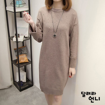 ヴィンテージココアニットワンピースkorea fashion style