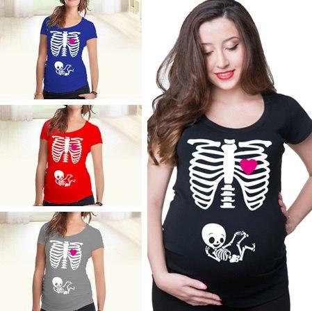 妊娠中の女性のためのマタニティ妊娠のおかしいXrayスケルトンバニーのプリント服マタニティのTシャツ