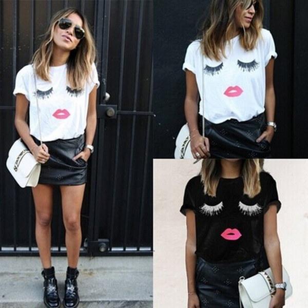 Eyelash lips printing short sleeve t-shirt