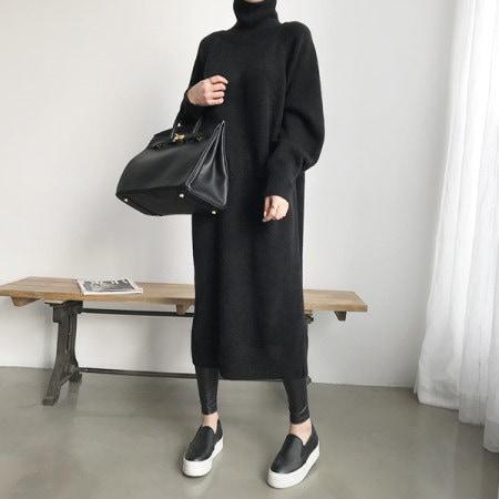 [naning9]ブリーカーンロングニットワンピースkorea fashion style