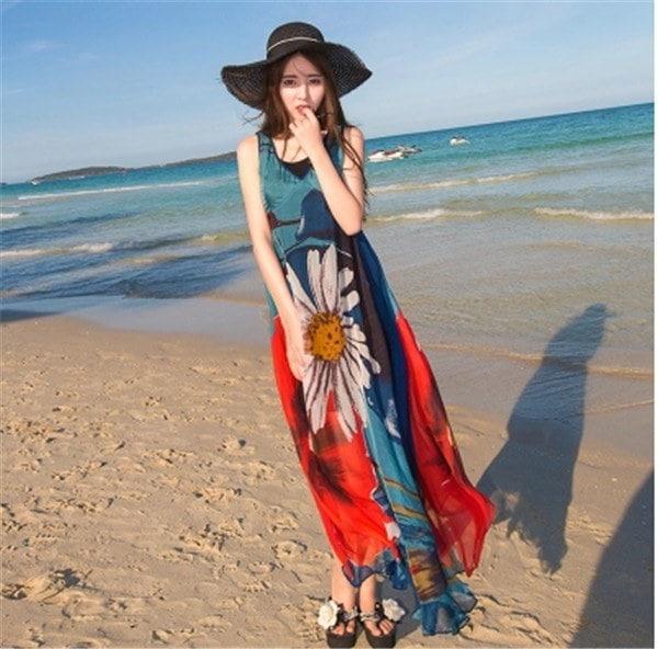 レディースワンピース ビーチワンピース 砂浜 プリント スリム ファッション ハイセンス 着心地いい おしゃれ 夏 レディースワンピース
