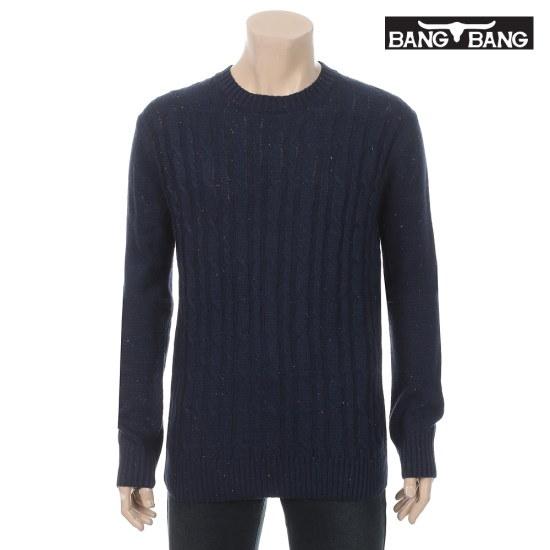 くるくるくるくる男女ケーブルプルオーバーのネイビー ニット/セーター/ニット/韓国ファッション