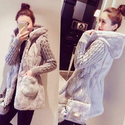 秋と冬服新しいファッション古典的なニットステッチぬいぐるみ厚いフード付きのジャケット/コート/
