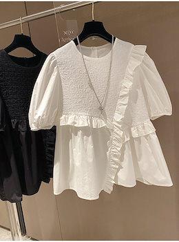 安いのに高く見える INSスタイル ロマンティック ゆったりする 半袖 気質 百掛け 2021年新作 シフォン 縫付 フリル シャツ 大人気 トップス 夏 ピュアカラー 肌にやさしい フレンチ