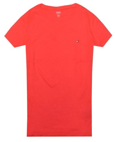 Tommy Hilfiger Women Slim Fit Crewneck Logo T-Shirt (S, Red)