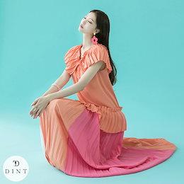 「DINT」 ★送料無料★D4068♥プリーツ配色ポイントワンピース♥セレブ系オフィススタイル♥韓国ファッションブランドDINTのオシャレなオフィススタイル提案!