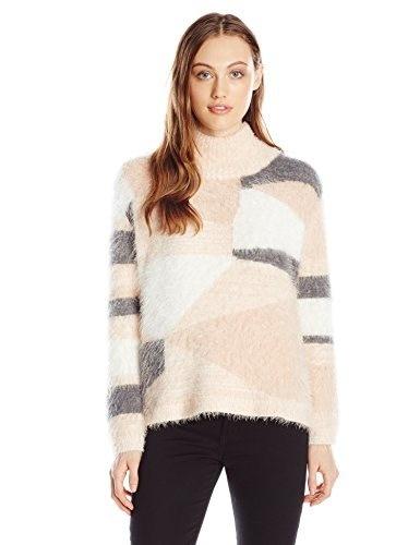 Vince Camuto Womens Long Sleeve Turtle Neck Mix Eyelash Intarsia Sweater, Rose Cream, X-Large