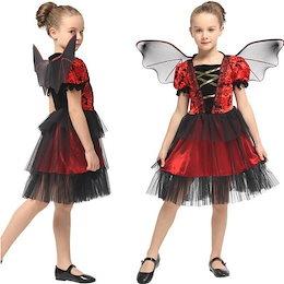 1fd8e14f0a009 ハロウィン 衣装 羽付き 子供 ワンピース 魔女 女の子 コウモリ ハロウィン コスチューム 小魔女 子供用 キッズ