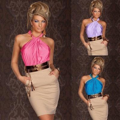 新着高品質めまいホルターネックピンク・ブルー・ラベンダーシャーリングカクテルドレスファッションホットSA