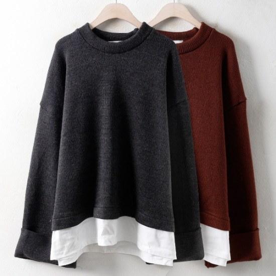 ウィスィモールIWブロウ配色ニートCT17122col66110size ニット/セーター/ニット/韓国ファッション