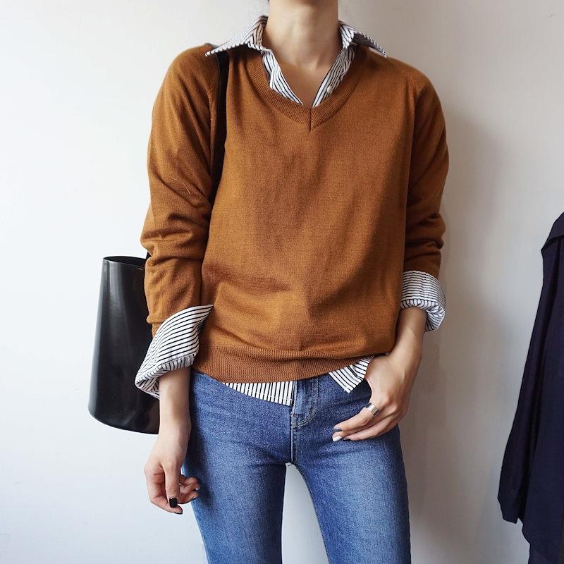[ラルム】ゆずVネック基本ニット5col korea fashion style