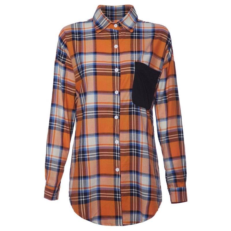 チェック柄ロングスリーブ襟シングルブレストレディースシャツ