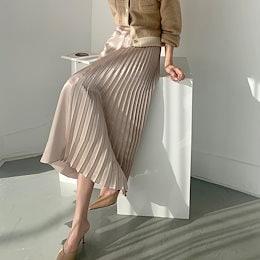 ✨DRESSCAFE✨[韓国ファッション] ♥ Limited item!♥ (3color) ハーフプリーツサテンスカート