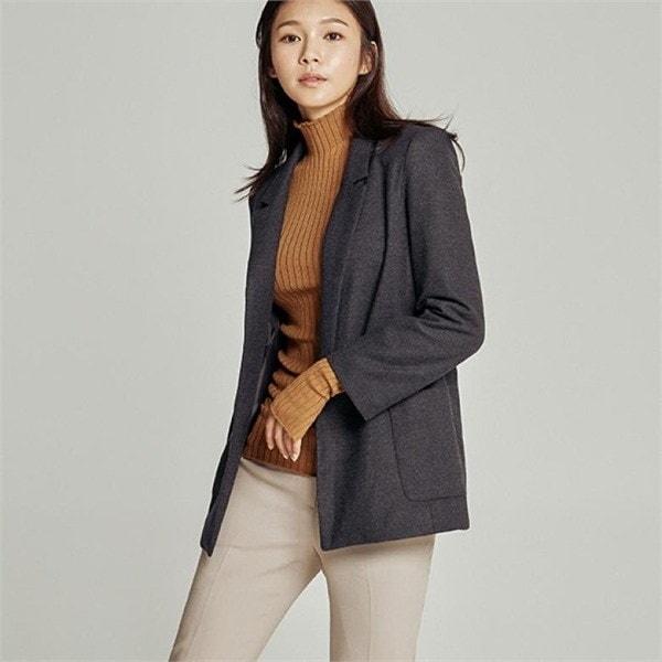 オープン型チャコール・ジャケットJ92NJK123 女性のジャケット / 韓国ファッション/ジャケット/秋冬/レディース/ハーフ/ロング/