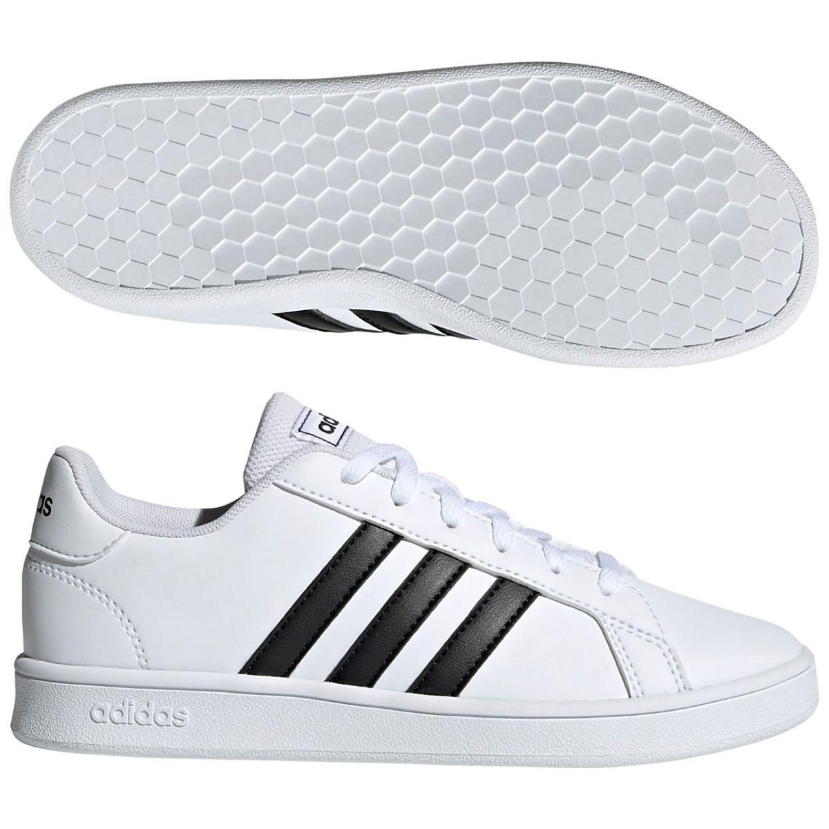 アディダス (adidas) ジュニア GRANDCOURT(ランニングホワイト×コアブラック×ランニングホワイト) EF0103 [分類:キッズ・子供靴 スニーカー]