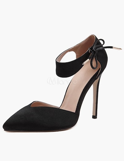 Sexy Black PU Pointed Toe Sandals For Women