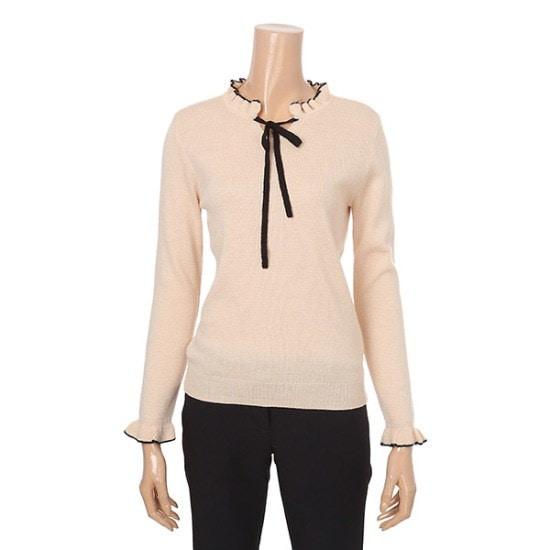 クルラビス女性らしいネックコグルがリボンセーターCVKR74T03Q ニット/セーター/韓国ファッション
