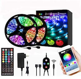 ZHONGJI RGB LED テープライト 10m APP操作 アプリ制御 リモコン付き DIY切断可能 調光調色 店 バー 部屋 庭ガーデン装飾 間接照明