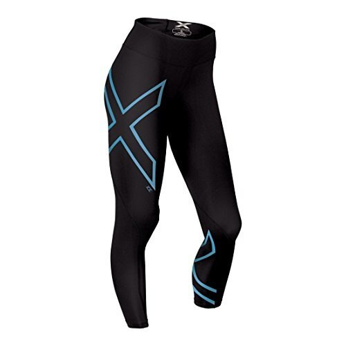 2XU Womens Ice Mid-Rise Compression Tights, Black/Ice Blue, Medium