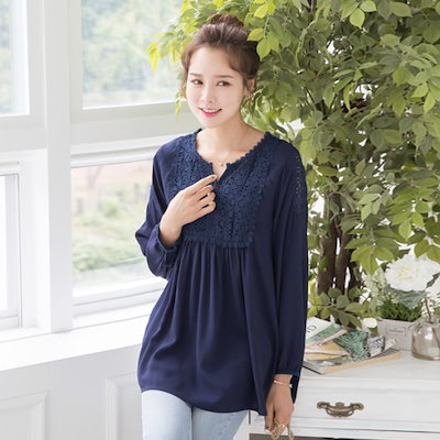 マダム4060ママの服・プリンセスレースブラウスXBL707129 ルーズフィット/ロングシャツ/ブラウス/ 韓国ファッション