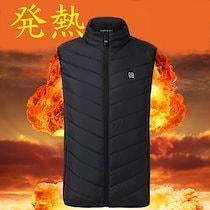 【送料無料】男女兼用 電気発熱ベスト バッテリー給電 USB 加熱 ベスト  加熱スーツ 加熱綿ベスト 暖かい
