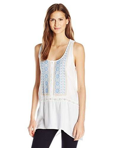 Karen Kane Womens Embroidered Handkerchief Tank, Off/White, Large