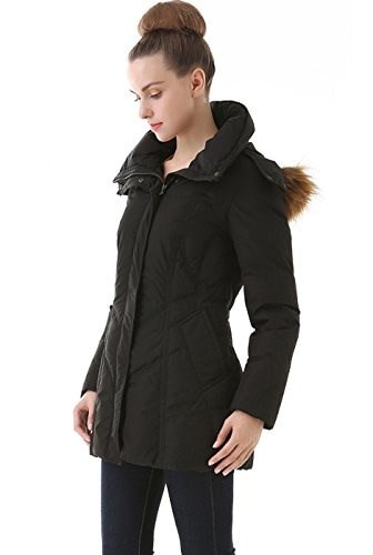 "BGSD Womens "" Jenn""  Quilted Down Coat - Black L"