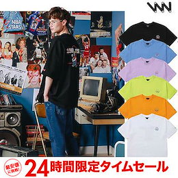 韓国大人気ブランド【WV PROJECT】WV project channel 半袖Tシャツ💙「S~Lサイズ」お揃いTシャツにもおすすめの刺繍ポイントTシャツ💙