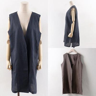 韓国ファッション大きいサイズWWリネンポケット-VT(0302RH807)ビッグ女性服ロングルーズフィット korea fashion bigsize