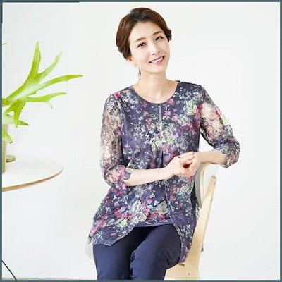 [シーズ・マダム]T53785のシャロン・二重の前に広がることジュルキュビクティーシャツ/ママの服 /トップ/ノースリーブTシャツ/ 韓国ファッション