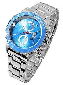 1050147-BL Disney ディズニー ミッキー メンズ 腕時計 MK80周年記念時計 1050147 スワロフスキー付き メタルバンド ブルー