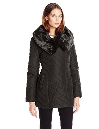 Steve Madden Womens Asymmetrical Zip Front Puffer Coat, Black, X-Large