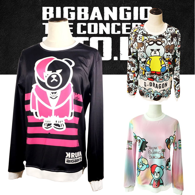 超かわいい★BIGBANG応援トレーナ★YG KRUNK BEAR bigbangファッション/ BIGBANG パーカー双击查看原图女兼用 野球服コートカバー/RINGA LINGA/G-DRAGON / TOP / D-LITE / VI / SOL / Gドラゴン/ gd /BIGBANG/bigbang 服