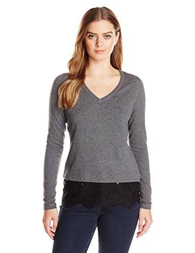T Tahari Womens Sam Sweater, Granite Melange, Small