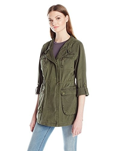 Steve Madden Womens Denim Hooded Anorak, Olive, Medium