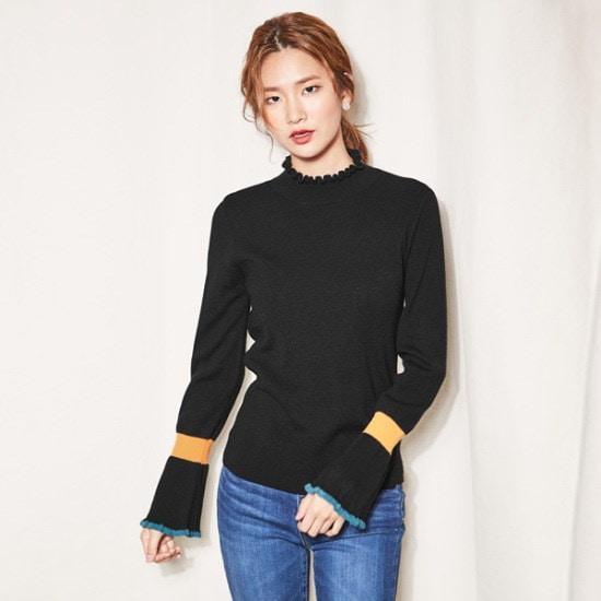 ナインNAINフリルカラーブロックニートT3692 ニット/セーター/韓国ファッション