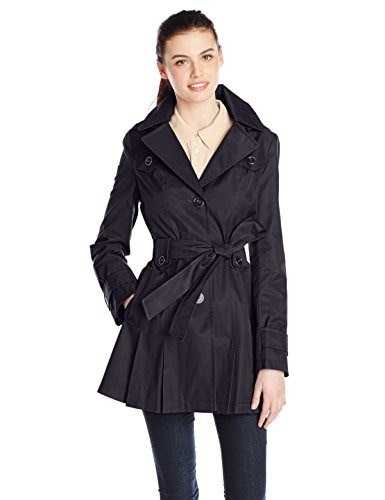 Via Spiga Womens Single-Breasted Belted Trench Coat with Hood, Navy, Small