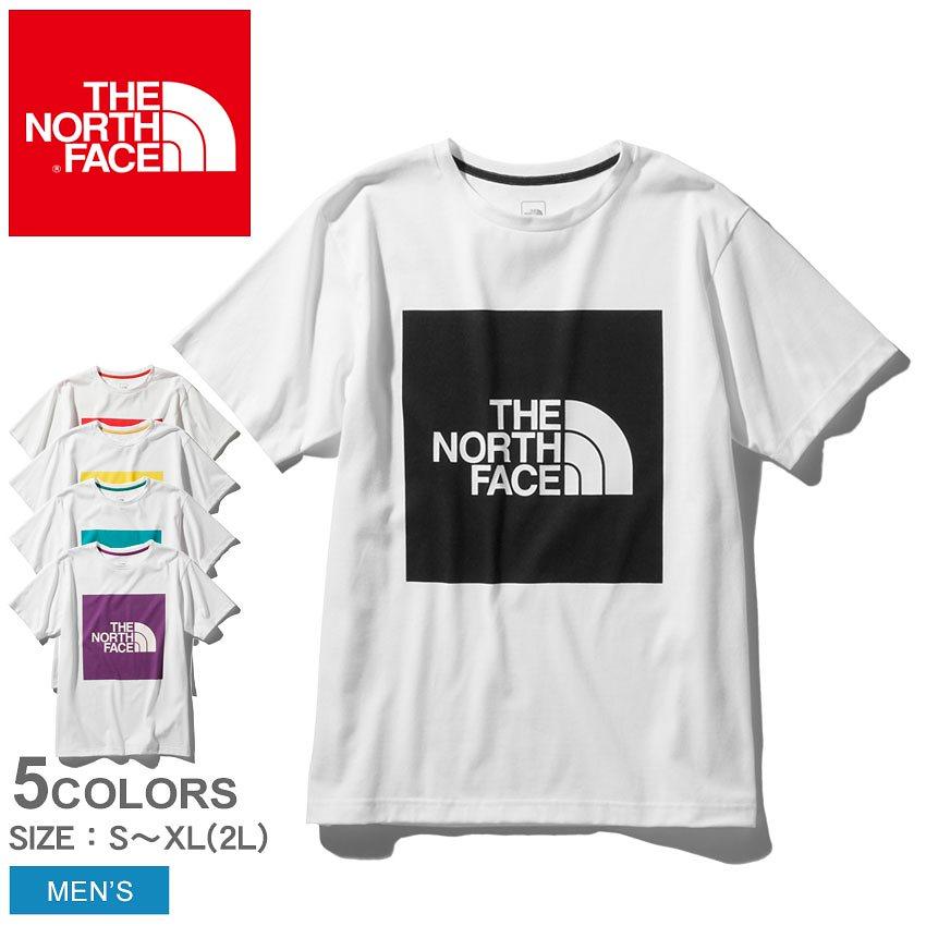 THE NORTH FACE ザ ノースフェイス 半袖Tシャツ ショートスリーブカラードビッグロゴティー NT32043 メンズ 半袖 プリント 白