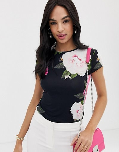 テッドベーカー レディース Tシャツ トップス Ted Baker Alanyo magnificent floral fitted t-shirt