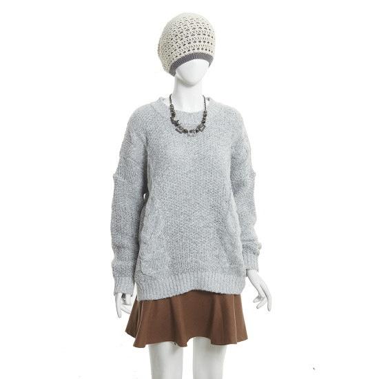 ジェイジェイジコトゥルーズフィットの王ケーブル・ニットプルオーバーGGCN1KTL8 ロングニット/ルーズフィット/セーター/韓国ファッション