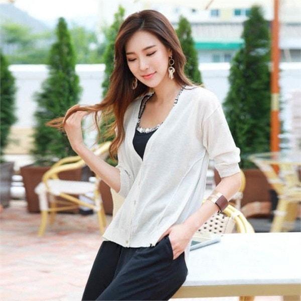 スタイルオンミデムリンネンシフォン配色カディゴンnew 女性ニット/カーディガン/韓国ファッション