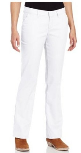 Dickies Womens Wrinkle Resistant Flat Front Twill Pant With Stain Release Finish,White,4 Regular