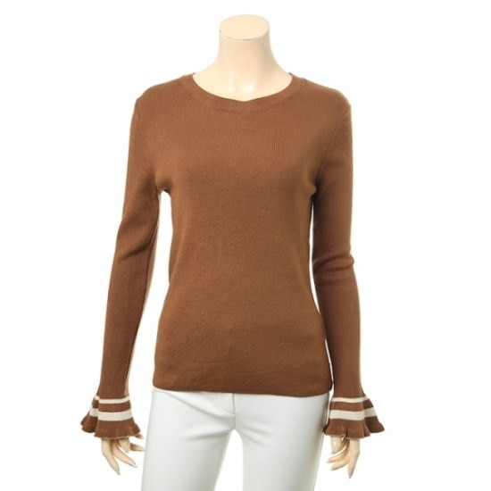 [リスト]ラッフル袖配色シンプルニット(TSKPOH80060) / ニット/セーター/ストライプニット/韓国ファッション